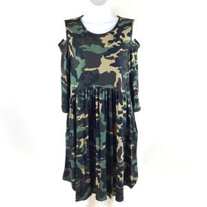 Voll Camo Baby Doll Cold Shoulder Dress SM—3X